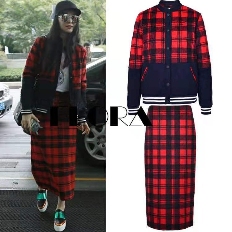 Fan Bingbing Celebrity Style Red Plaid H Type Dress 2019 New Style Autumn And Winter Jacket Skirt Case
