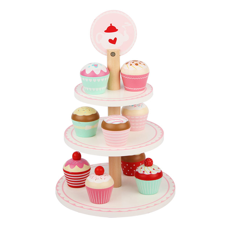 Simulation Cake Stand Wooden Toys For Kids Pink Strawberry Play House Girl Toy Birthday Party Gift Educational Toys