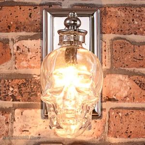 Image 3 - Applique murale rétro, en bouteille de verre transparent, os de crâne, éclairage artistique pour Loft, salle à manger, Bar, décoration de maison