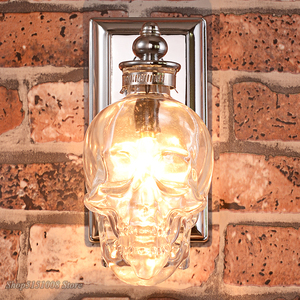 Image 3 - Skull Bones Wall Lamp Retro Loft Sconces Clear Glass Bottle Wall Art Light Fixtures for Dinning Room Bar Industrial Home Decor