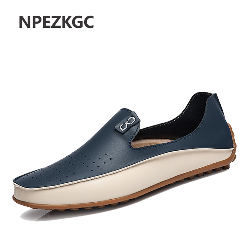 Fashion Leather Shoes For Men New Slip On Loafers Plus Size 47 Casual Driving Shoes Wide 2019 Business Shoes Sneaker Male
