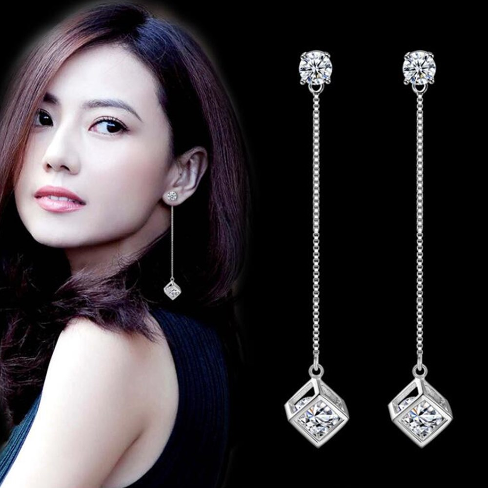 Jewelry Earrings Pop Long-Tassel Cubic-Zirconia-Checkered 925-Sterling-Silver Retro Woman