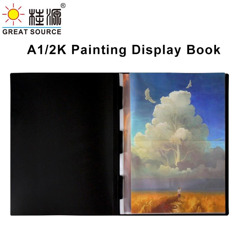 2K Display Book Drawing Presentation Book 10 Transparent Pockets Folder 645*845mm(25.39