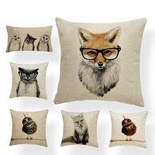 Buho Fox cojín mano Animal pintado funda de almohada Vintage cabecera decoración almohada rectángulo cuadrado de algodón personalizado