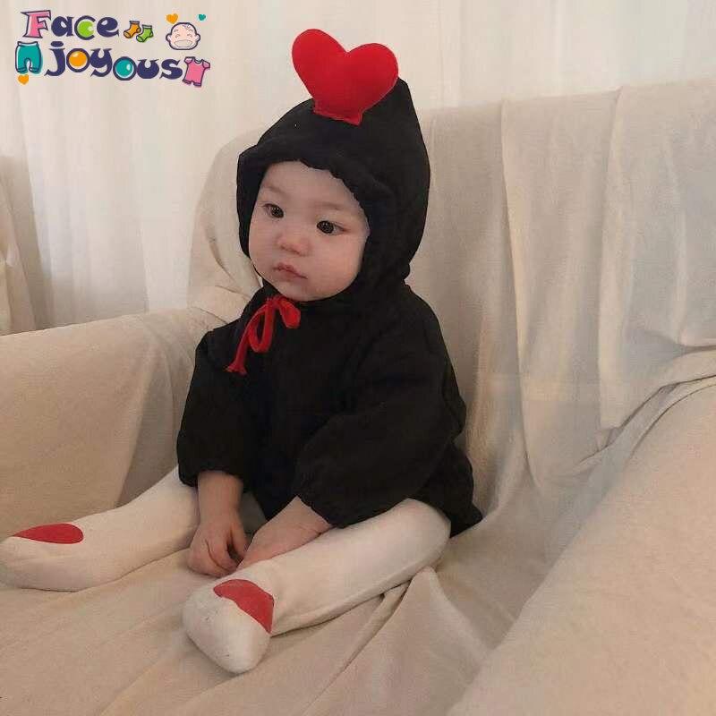 Newborn Baby Romper Long Sleeve Love Heart Design Romper Baby Boys Girls Autumn Sweatershirt Hooded Jumpsuit Romper