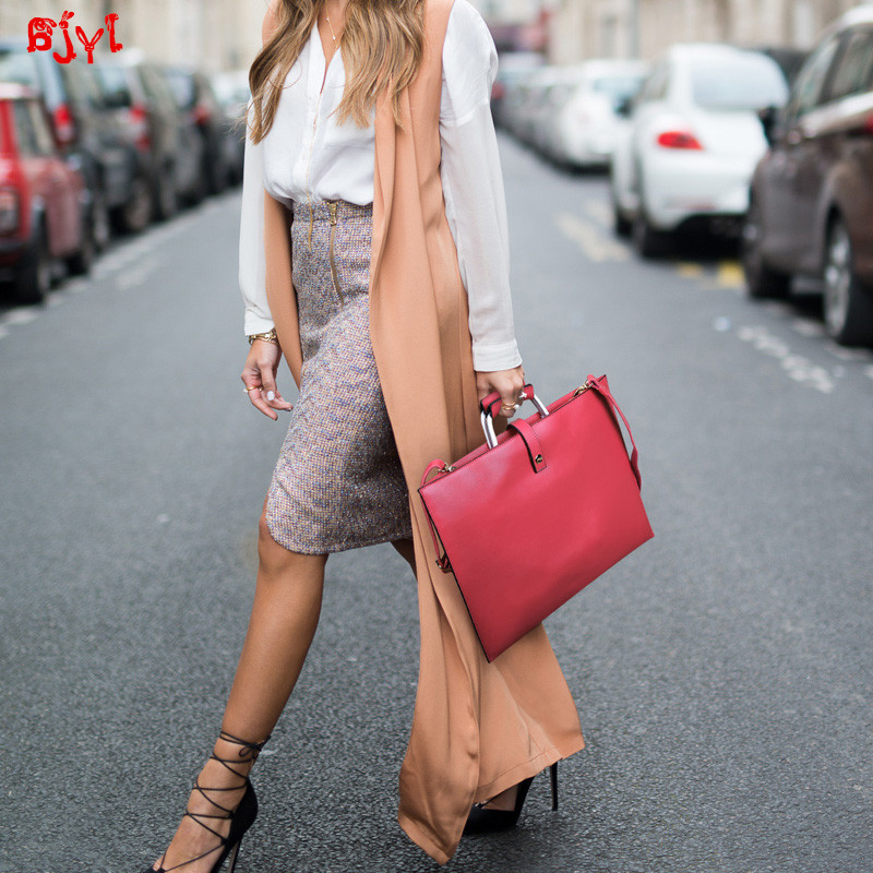 Thin Simple Genuine Leather Business Women Handbag Female Briefcase OL Tablet Laptop Bag Ladies Shoulder Messenger Bag Fashion