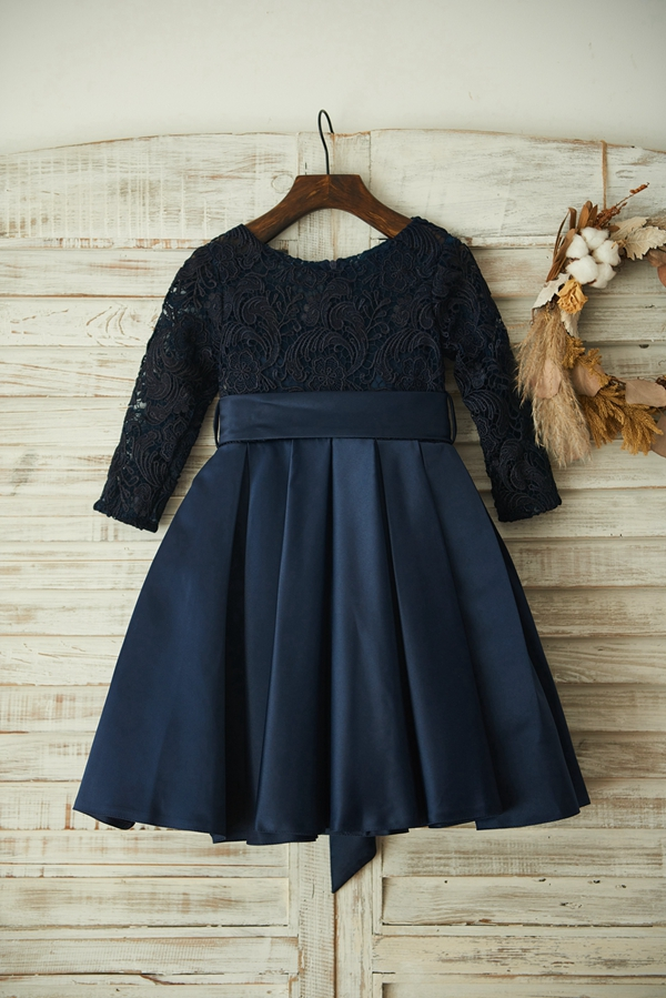 New Spring   Flower     Girl     Dress   Navy Blue Elegant Lace Satin   Dress   with Super Bow Zipper up Long Sleeves   Dress