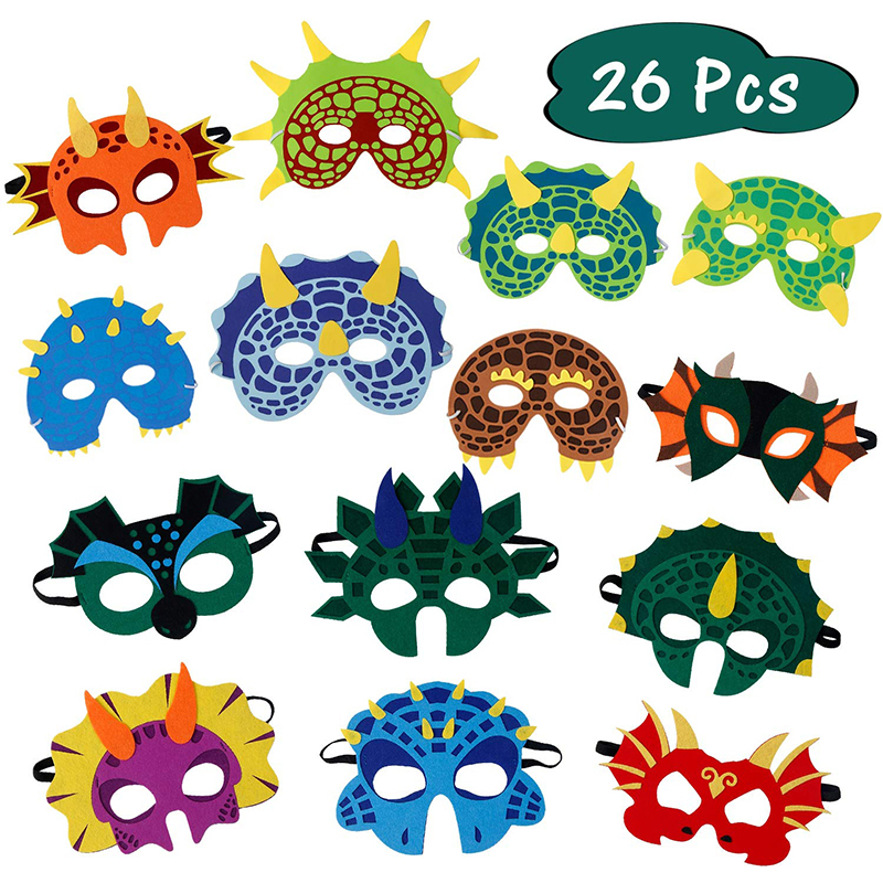 26 Pack Dinosaur Party Masks Masquerade And Halloween Dinosaur Face Mask Foam Felt Dinosaur Mask For Kids Birthday Themed Party