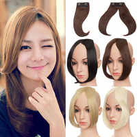 S-noilite Long Clip In on Front Hair Bang Side Fringe Hair Extension Natural Synthetic bangs hair piece for women