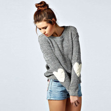 Fashion Jumper Basic Knitted Sweaters Women Casual Heart Shape Long Sleeve Knitwear Pius Size Tops O Neck Autumn Winter Pullover