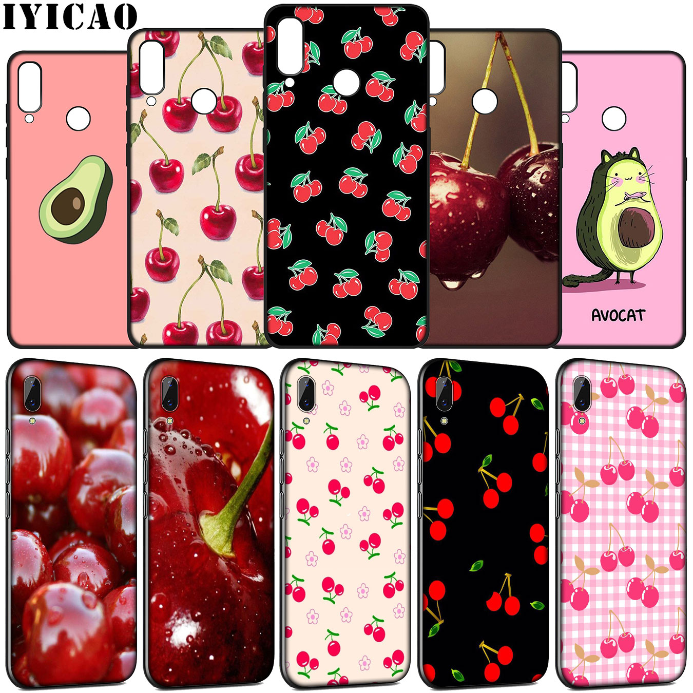 Cherry <font><b>summer</b></font> fruit Soft <font><b>Case</b></font> for <font><b>Huawei</b></font> Y9 Y7 <font><b>Y6</b></font> Prime 2019 <font><b>2018</b></font> Honor view 20 8C 8X 8 9 9X 10 Lite 7C 7X 7A Pro image