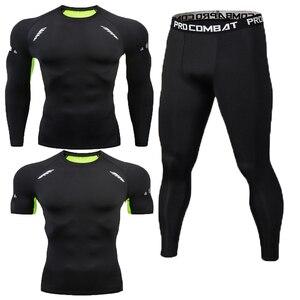 Image 5 - חדש כושר גברים של סט טהור שחור דחיסה למעלה + חותלות תחתוני קרוספיט ארוך שרוול + קצר שרוול חולצה הלבשה סט
