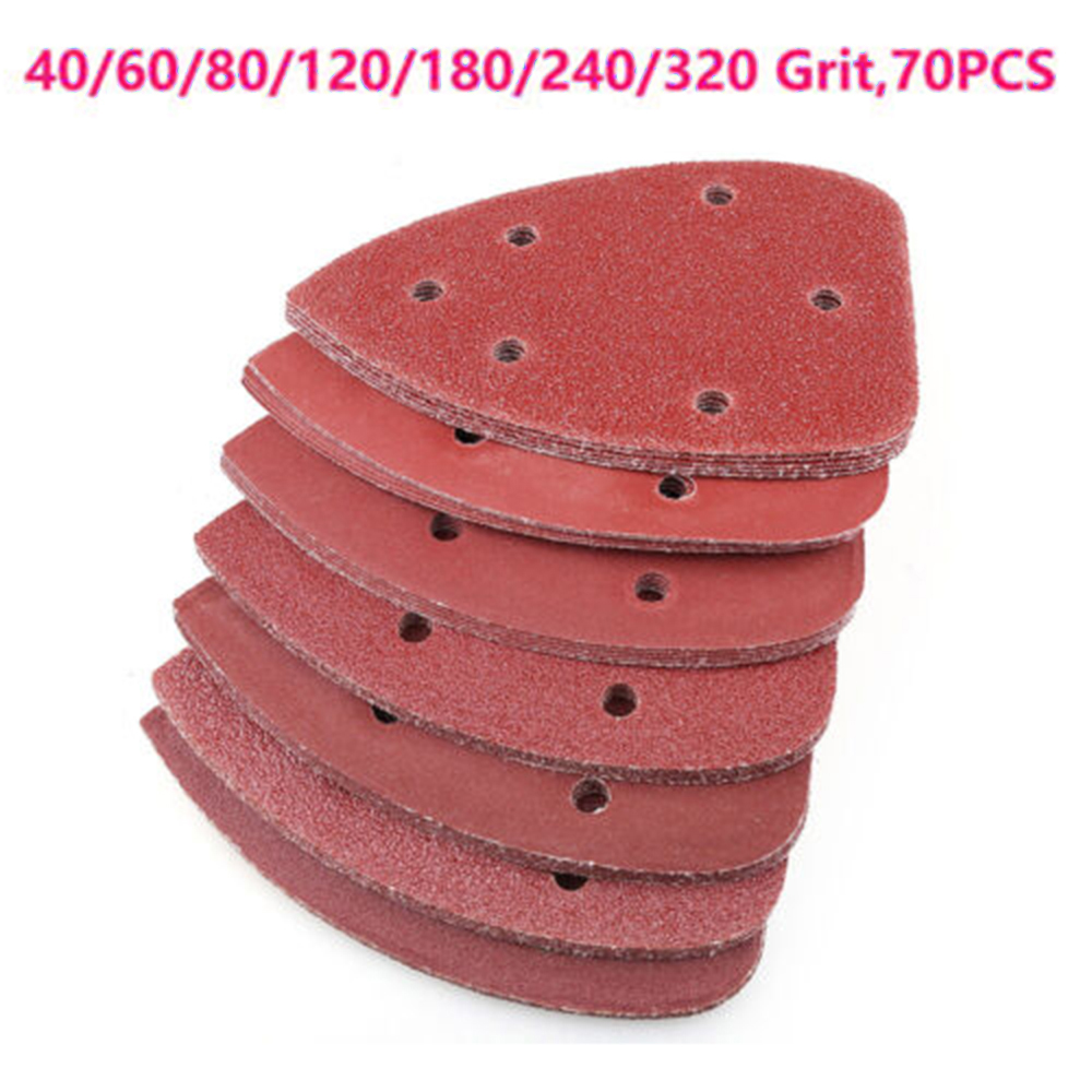 70pcs 5 Hole Sander Sandpaper Sanding Paper For Metal And Non-metal Polishing 40/60/80/120/180/240/320 Grit Pack