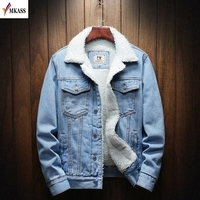 MKASS Men Jacket And Coat Trendy Warm Fleece Denim Jacket 2019 Winter Fashion Mens Jean Jacket Outwear Male Cowboy Plus Size 6XL