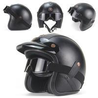 Motorcycle German Half Face Helmet Chopper 3/4 leather helmet Scooter Half Helmet Skull Cap Hat Chopper With WindGlass