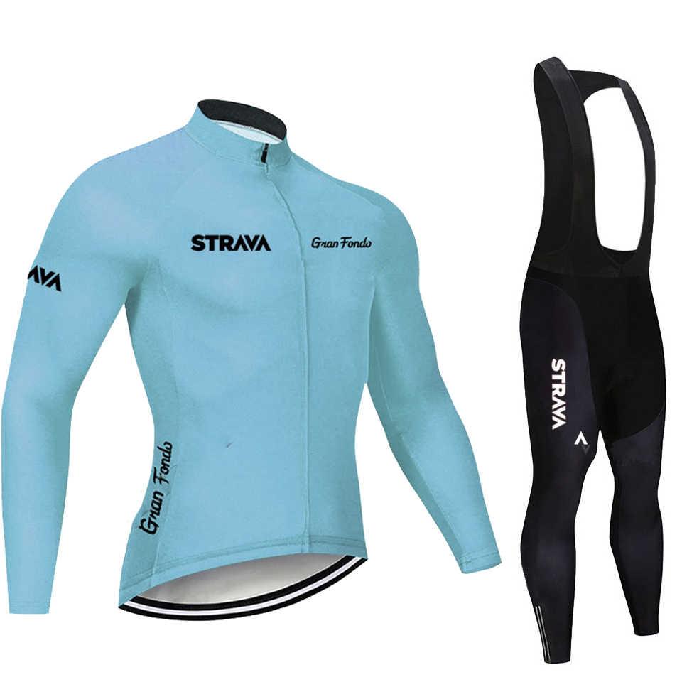 2020 STRAVA Pro Team z długim rękawem kolarstwo zestaw koszulek spodnie na szelkach Ropa Ciclismo odzież rowerowa MTB Bike Jersey jednolite męskie ubrania