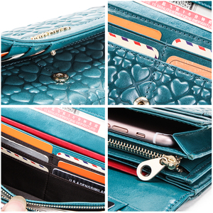 Image 5 - Portemonnee com telefone bolsa de dinheiro titular do cartão bolsa de couro genuíno das mulheres da forma carteira de embreagem feminina