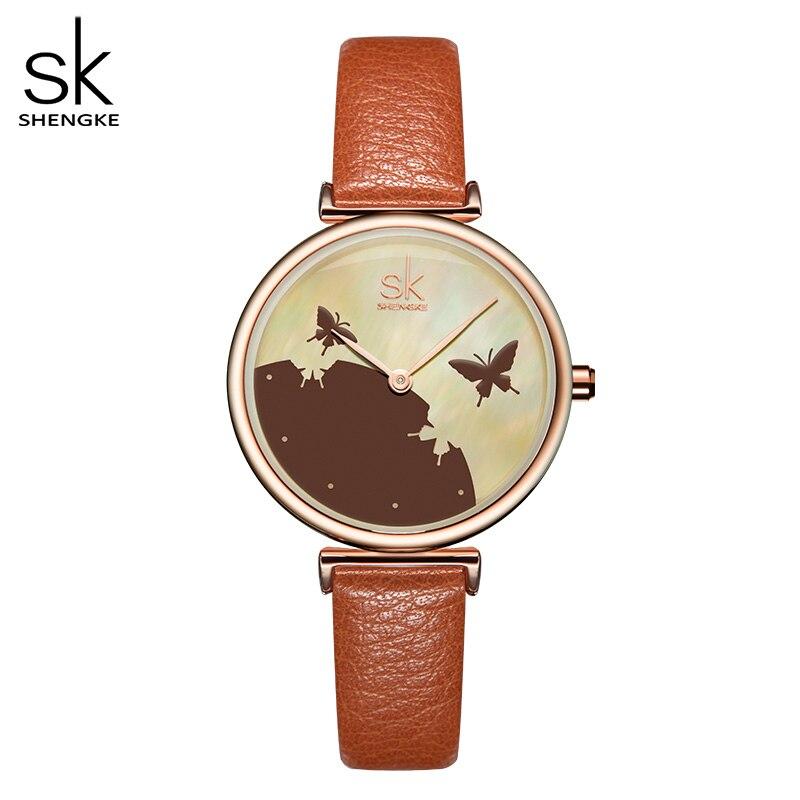 Shengke Women Fashion Blue Quartz Watch Lady Leather Watchband High Quality Casual Waterproof Wristwatch Gift For Wife Original