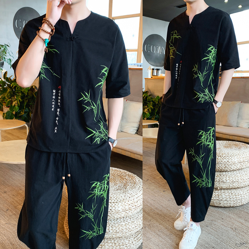 Chinese Style Embroidery Casual Tracksuit Men Set Plus Size 5xl Summer Shorts Set 2020 Spring Summer 2 Piece Set Short Sleeve