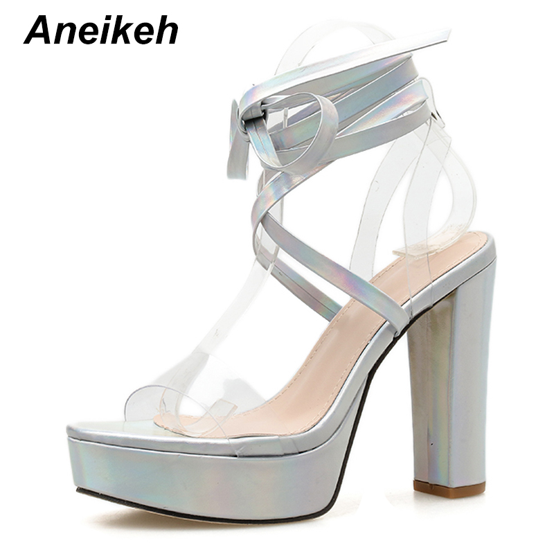Aneikeh 2020 Fashion Sequins PVC Platform Women Sandals Peep Toe Basic Thick Heel Ankle Strap Female Party Dress Shoes Pumps 42