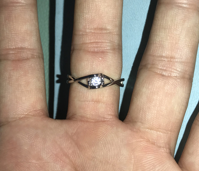 YANHUI classique femme 0.3ct zircone diamant bague infinie Original 925 argent bague promesse bagues de fiançailles pour les femmes