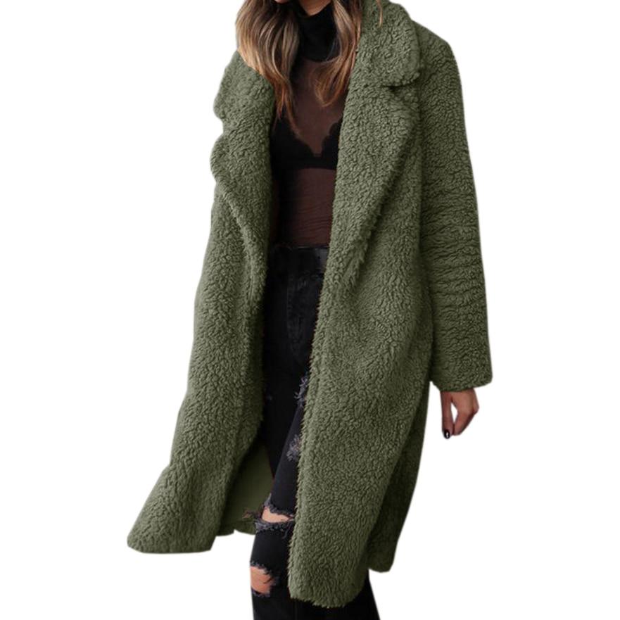 Wool Blends Women Jackets Warm Office Lady Long Cozy Teddy Coats Fleece Autumn Winter Streetwear Fuzzy Cardigan Overcoats M0166