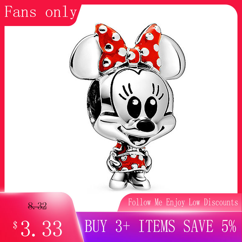 2020 Spring New 925 Sterling Silver Beads Cartoon Mouse Dotted Dress Bow Charms Fit Original Pandora Bracelets Women DIY Jewelry