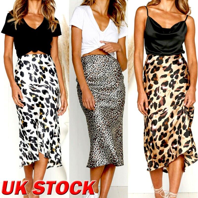 Women Fashion Skirts 2020 Leopard Print Bodycon Midi Skirt Summer High Waist Party Cocktail Satin Wrap Long Skirts Womens S-XL