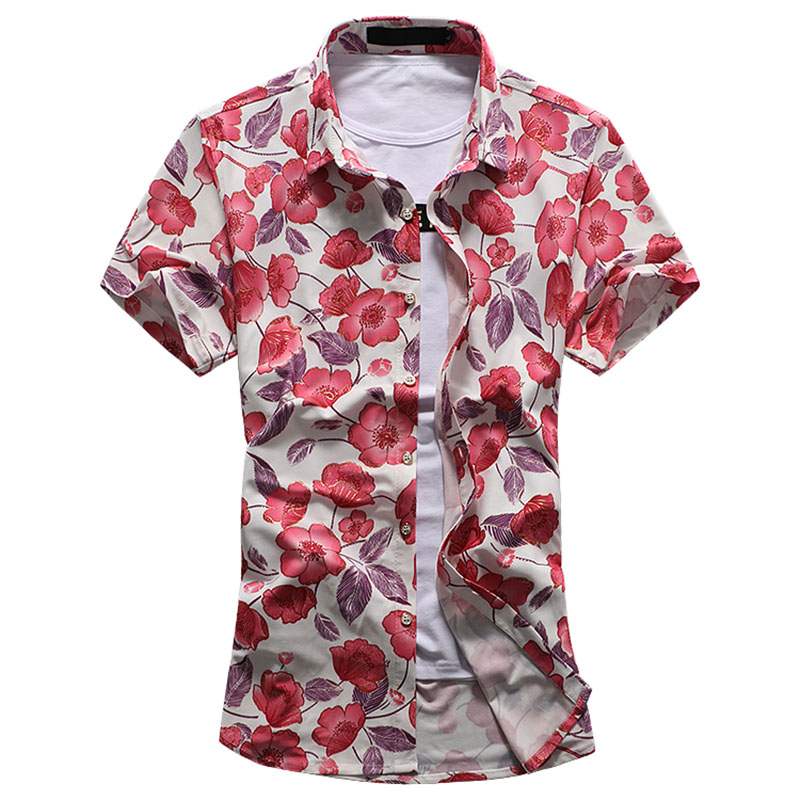 Image 5 - HCXY 2019 Summer Fashion Mens Shirt Slim Fit Short Sleeve Floral Shirt Mens Clothing Trend  Mens Casual Flower Shirts Size M 7XL-in Short Sleeve Shirts from Men's Clothing