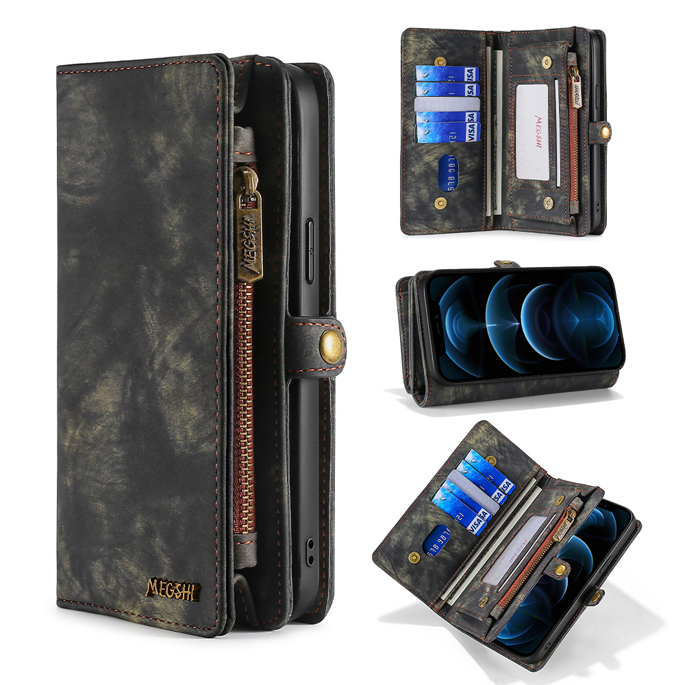 Portfel skórzany futerał na telefon iPhone 6 6s 7 8 Plus X Xs Xr Xs Max 11 11Pro 11ProMax 12 Pro Max Vintage matowa klamra torebka