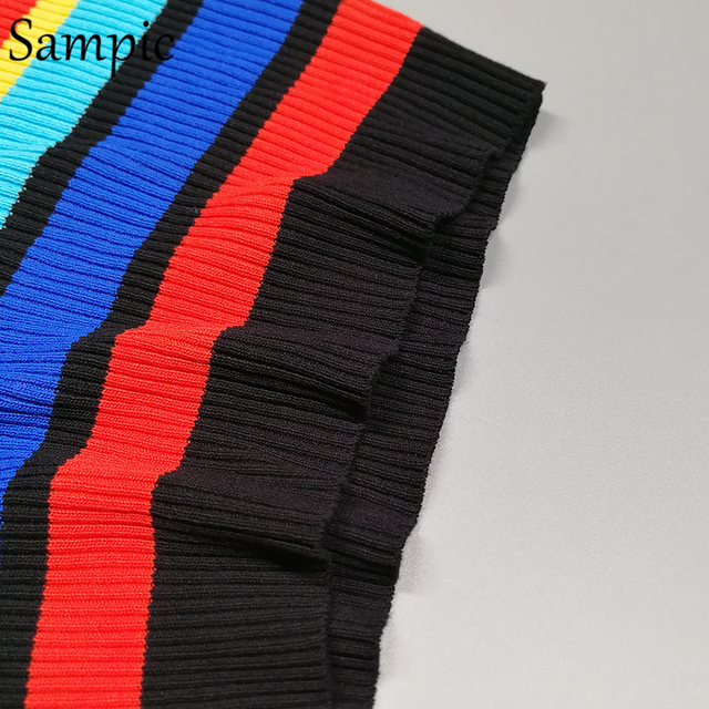 Sampic sexy off shoulder knited women striped tank tops t shirt casual strap sleeveless rainbow mujer crop top summer 2020 10