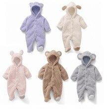 купить Polar Fleece Jumpsuit Baby Winter Overalls Newborns Christmas Long Sleeve Teddy Bear Footie Fleece Baby Girl Boy Romper Clothes онлайн