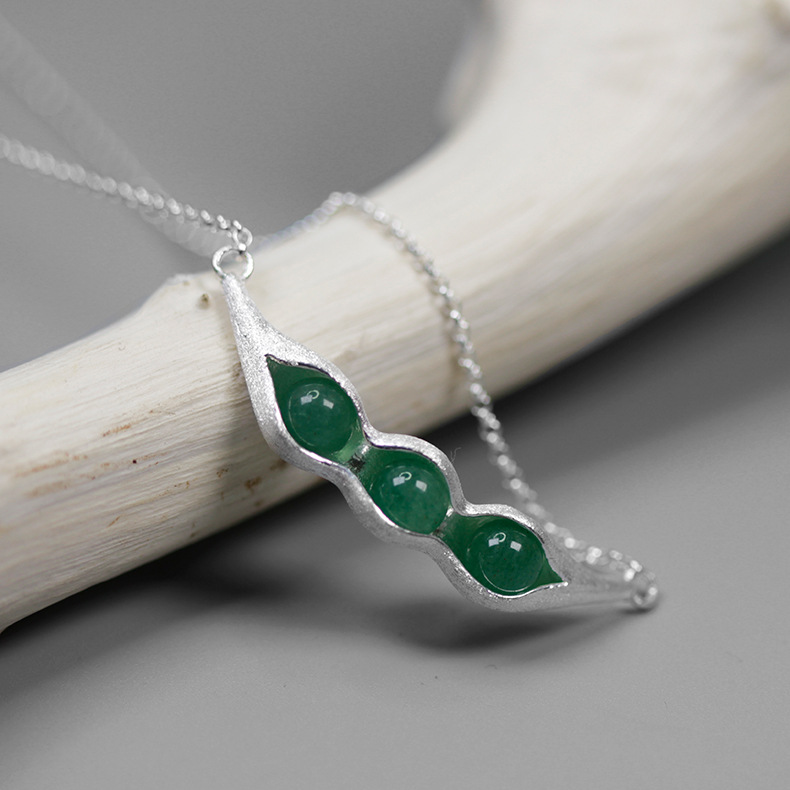 INATURE Natural Aventurine Pea Pod Pendant Necklace Women 925 Sterling Silver Chain Choker Necklaces Jewelry