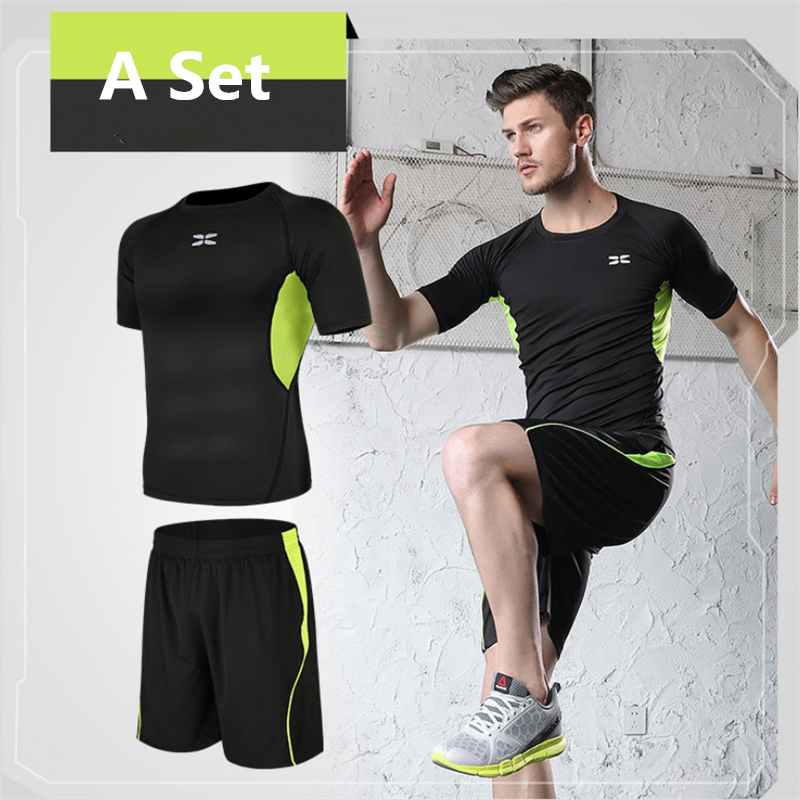One Set Suits Men's Quick Dry Running Set Clothes Sport Joggers Gym Fitness Short Long Sleeve Shorts Tracksuits Kit