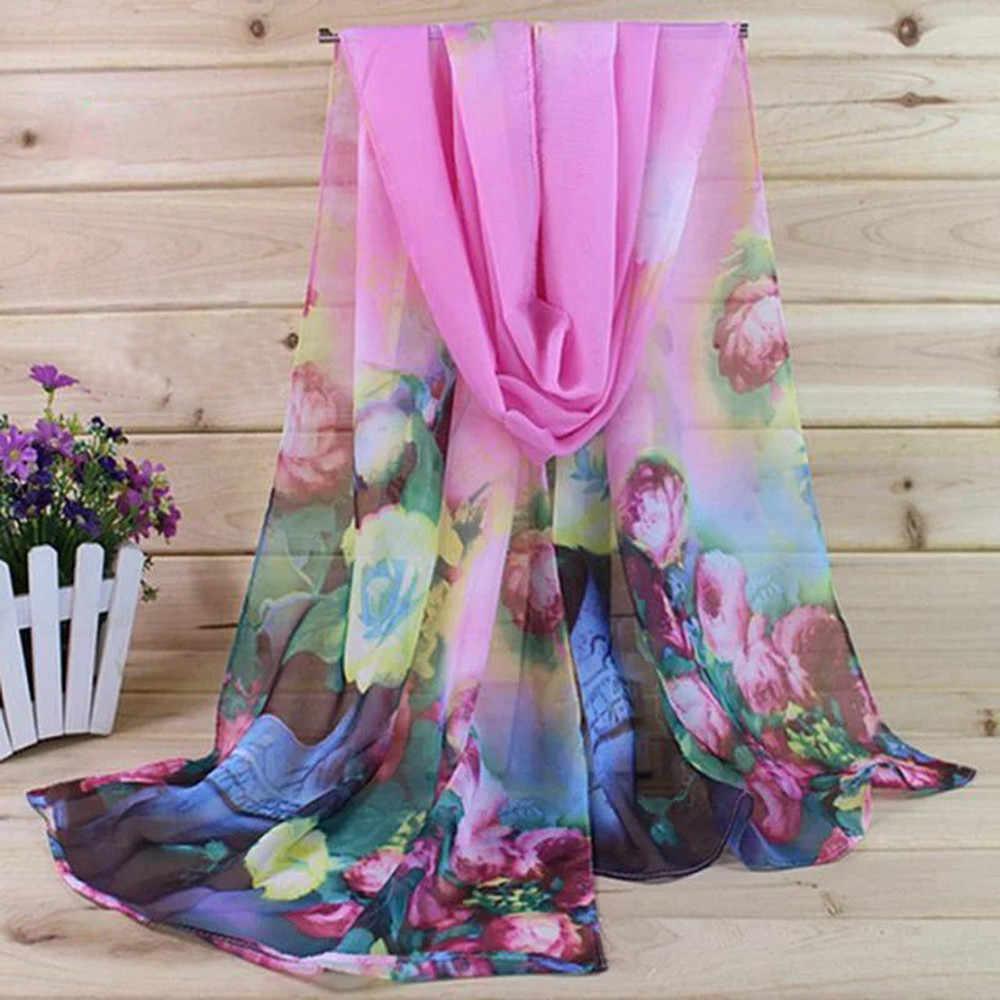 Wanita Tipis Selendang Musim Semi Musim Dingin Syal untuk Satin Sutra Elegan Floral Cetak Fashion Wanita Motif Bunga Selendang Chiffon #40