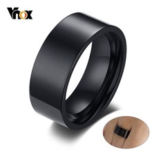 Vnox Minimalist Basic Wedding Rings for Men 8mm High Polished Black Stainless Steel Male Alliance Anel Jewelry