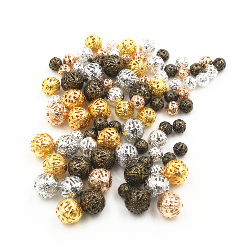4/6/8/10mm Hollow Ball Flower Beads Metal Charms Gold Color  /Silver Plated Rhodium Filigree Spacer Beads For Jewelry Making
