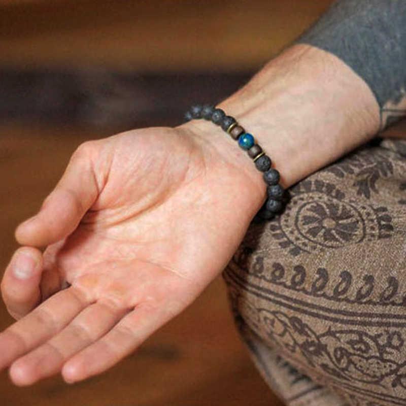 용암 스톤 남자 팔찌 자연 문스톤 구슬 티베트어 부처님 팔찌 차크라 기관총 팔찌 남자 보석 선물 용품 배송