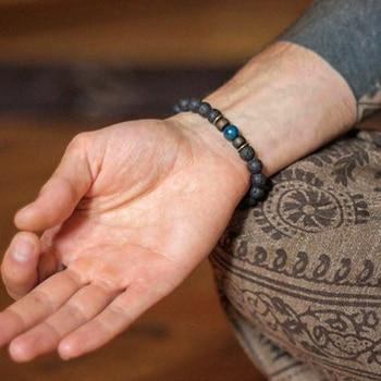 Lava Stone Men Bracelet Natural Moonstone Bead Tibetan Buddha Bracelet Chakra Diffuser Bracelets Men Jewelry Gifts Drop Shipping 2