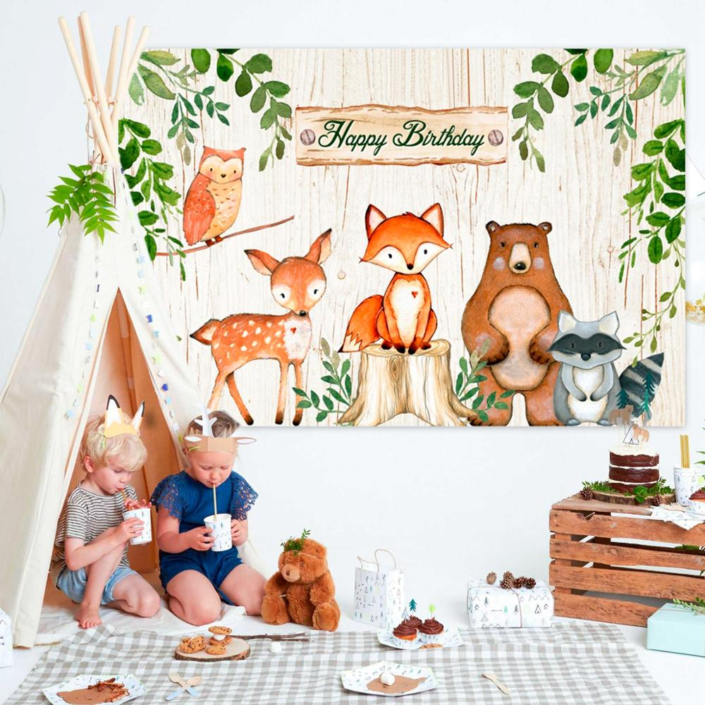 PATIMATE Woodland Animals Birthday Party Backdrop Jungle Safari Birthday Party Decoration Jungle Animal Forest Party Supplies