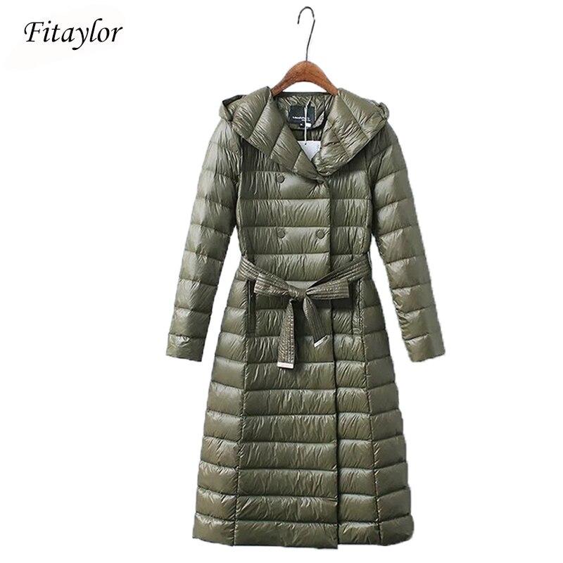 Fitaylor Winter Women Long Down Jacket Ultra Light Duck Down Hooded Parkas Slim Warm Outwear Plus Size Army Green Red Overcoat