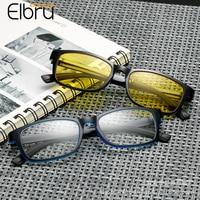 Elbru Ultraleicht Kleine Quadrat Gläser Rahmen Klassische Retro Mode Brillen Gelb Nachtsicht Objektiv Computer Brillen Unisex