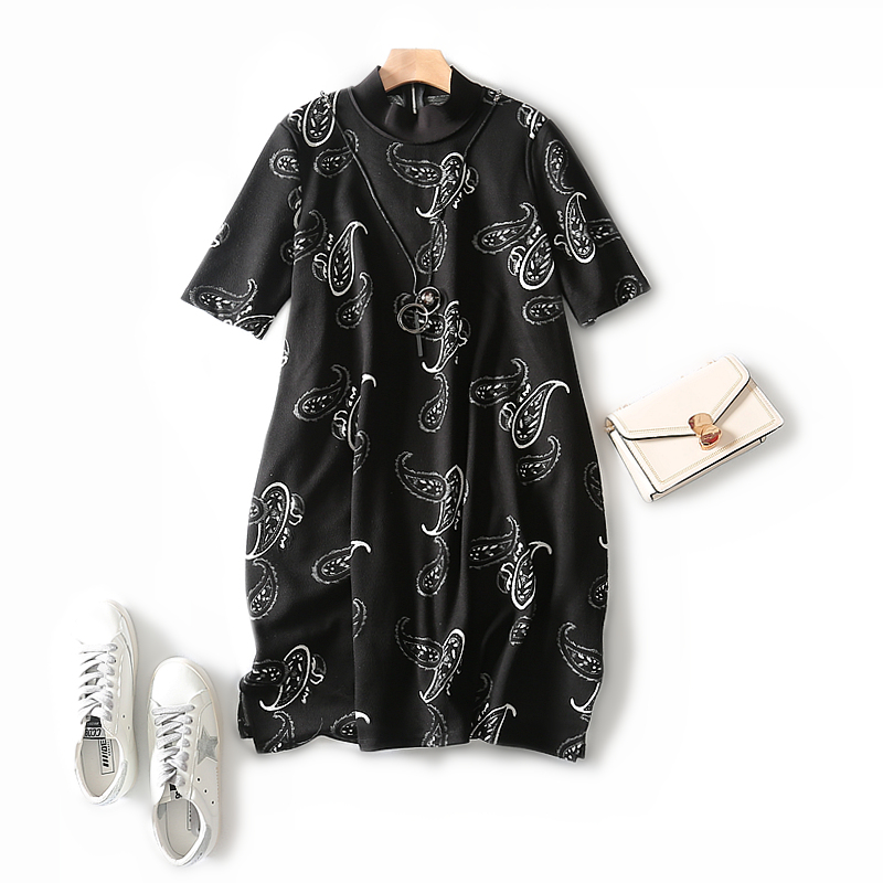 Baby Skin Touches Cashew Jacquard Knitted Silhouette A Line Loose Cover Meat With Pendant Women Dress Autumn And Winter L-3XL