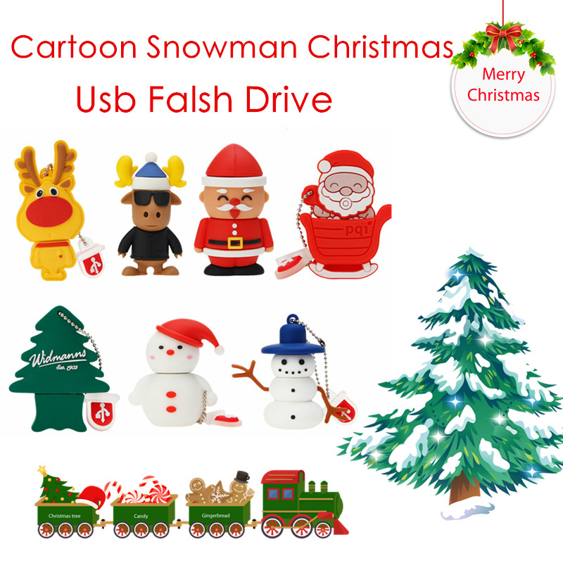 USB Flash Drive 64GB 128GB USB 2.0 Pen Drive 32GB Cartoon Snowman Christmas Tree Gifts 4GB 8GB 16GB Mini Santa Claus Pendrive