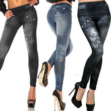 Jeans Trousers Leggings Pencil-Pants Stretch Skinny Printed Women Autumn Faux