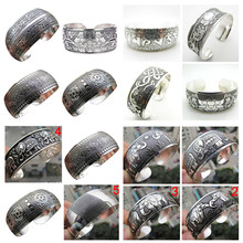 Antique Tibetan punk rock vintage gold silver plated carving open end cuff arm womens bangle bracelet armlet jewelry(China)
