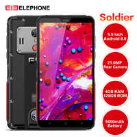 Smartphone Original Elephone soldat 4G 5.5 ''Android 8.0 MTK X25 4GB RAM 128GB ROM 21.0MP caméra arrière IP68 5000mAh téléphone portable