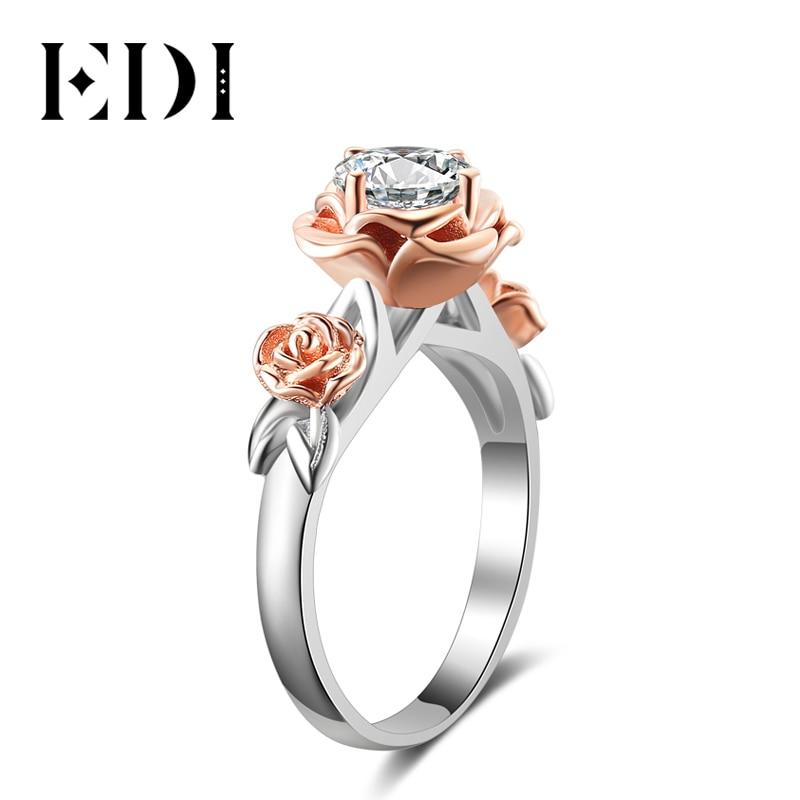 EDI ธรรมชาติ Rose ดอกไม้ 1ct Moissanite แหวนเพชร 14K Rose Gold แหวนเจ้าสาวเครื่องประดับ-ใน ห่วง จาก อัญมณีและเครื่องประดับ บน   1
