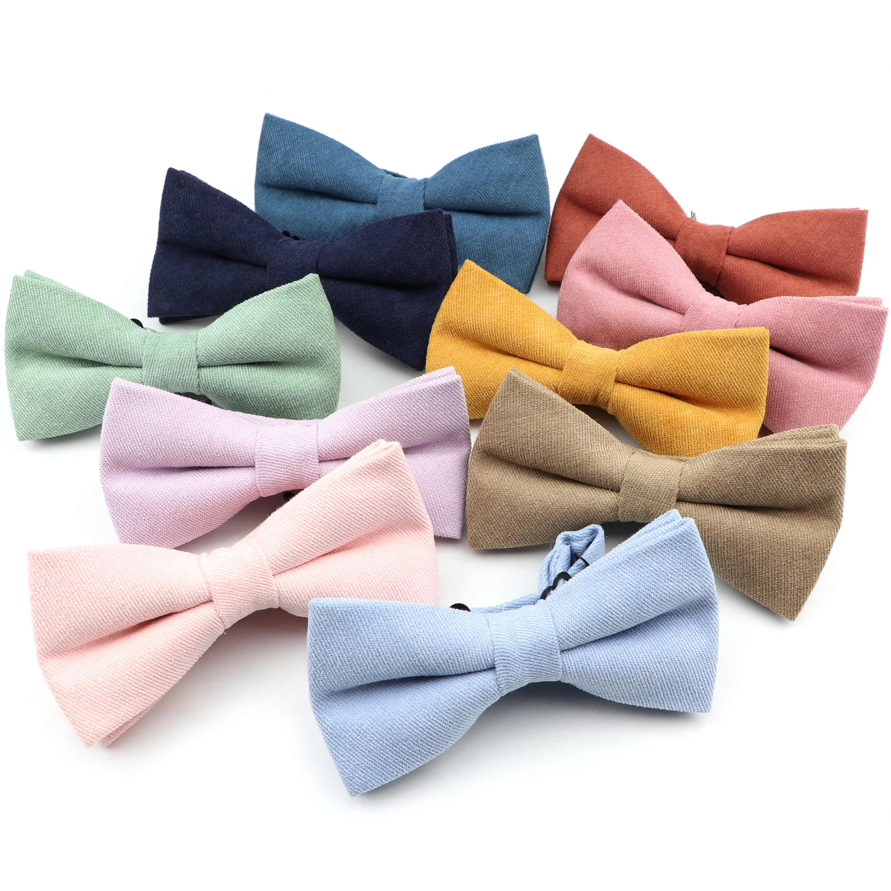 Mens Super Soft Downy Suede Bowtie Macarons Color Solid Classic Butterfly Red Purple Blue Yellow Green Bow Tie for Wedding Party