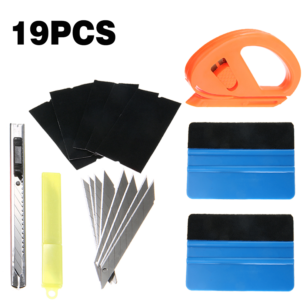 19Pcs/set Car Wrap Vinyl Tools Carbon Fibre Felt Squeegee Window Tinting Paint Tools Application Accessories